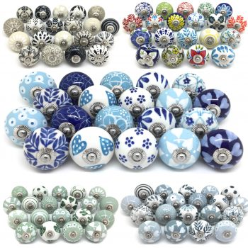 Stunning Sets of 20 Mixed Ceramic Knobs