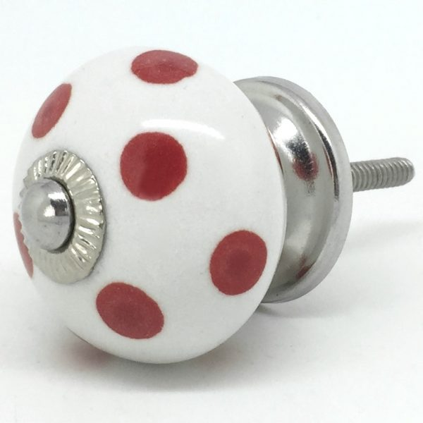 CK055 White with Red Pepper Polka Dots