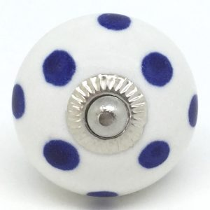 CK063 White with Navy Blue Polka Dot