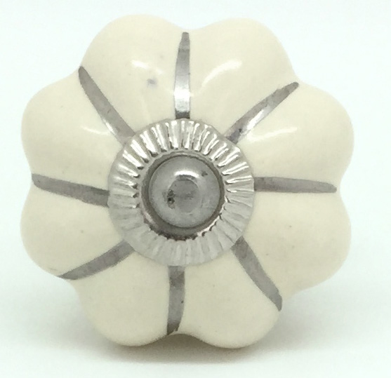 CK119R  Almond Cream Flower Silver Lines 2nd quality