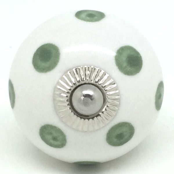 CK235 White with Washed Vintage Green Polka Dots