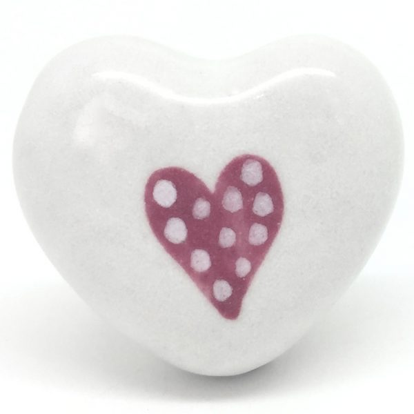 CK447 White Heart with Cherry Pink Dotty Heart