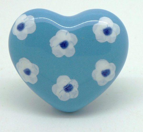 CK441 Blue Ditsy Daisy Heart Ceramic Knob