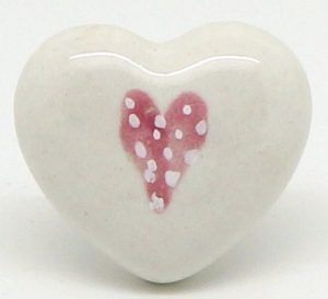 CK449 White Heart with Light Pink Dotty Heart