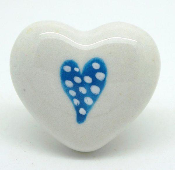 CK451 White Heart with Marina Blue Dotty Heart