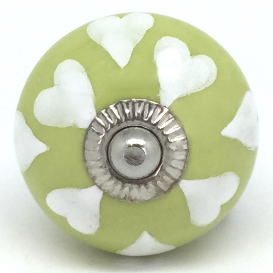 CK709 Lime Green with White Hearts