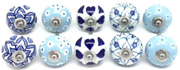 FP37 Set of 10 Blue & White Ceramic Knobs