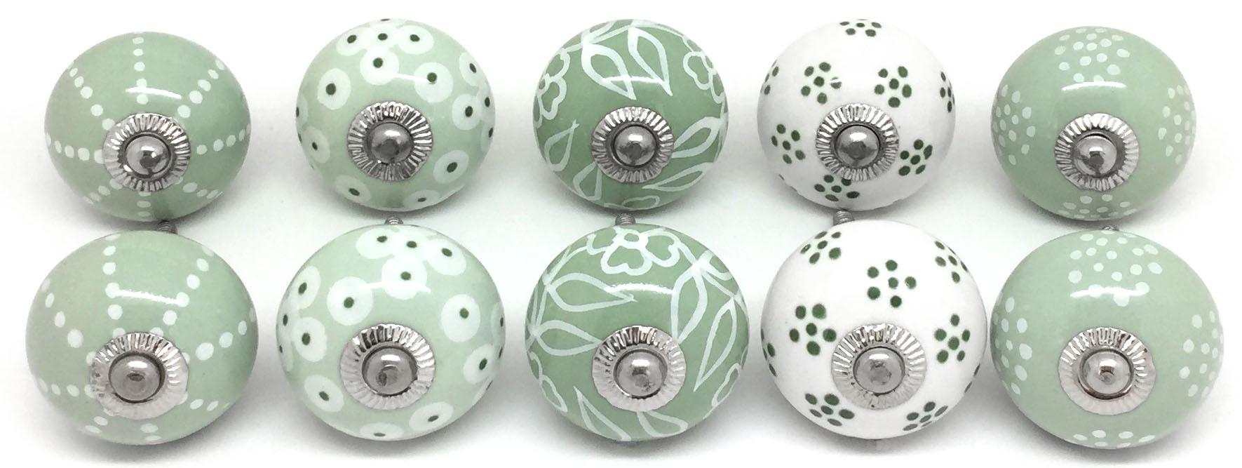 FP45 Set of 10 Mixed Green & White Door Knobs