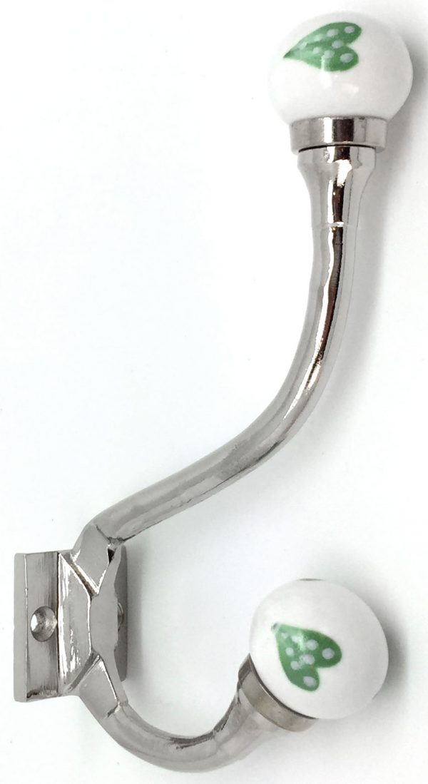 HK231 Claremont Green Dotty Heart Coat Hook
