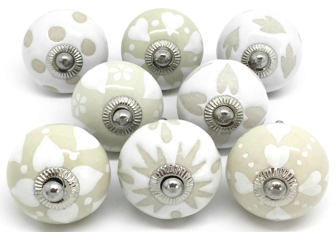 S8-19 Set of 8 Cream & White