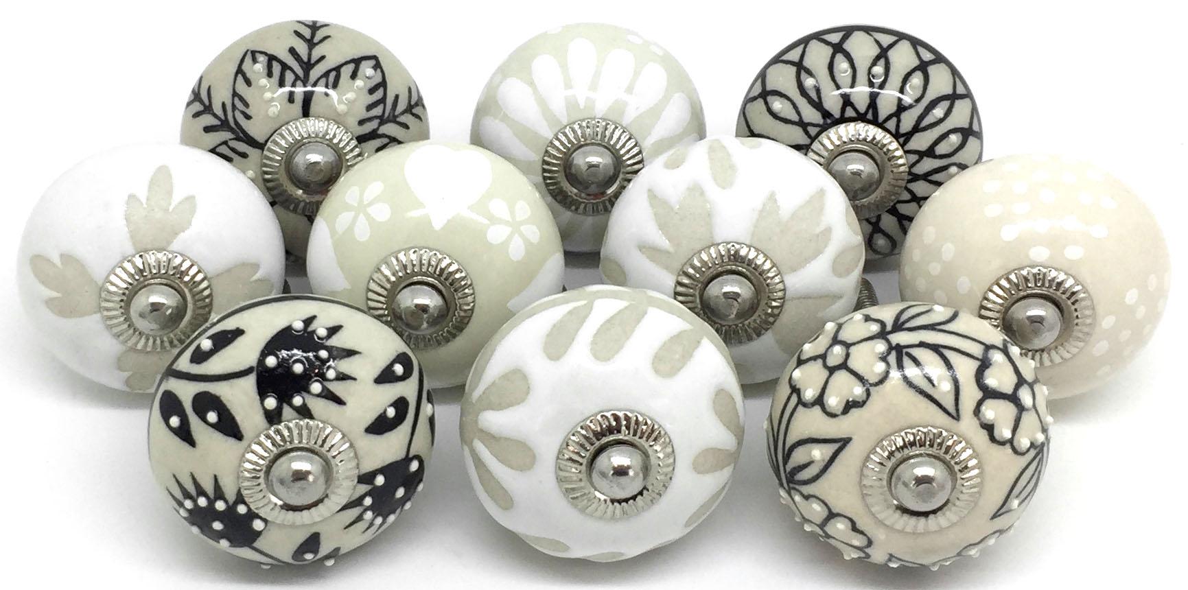 Set of 10 Cream Black White & Oatmeal Ceramic Knobs E10-8
