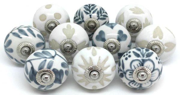 Set of 10 Cream Grey & White FP63