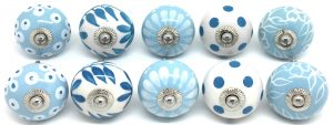 Set of 10 Mixed Blue & White Ceramic Door Knobs FP18