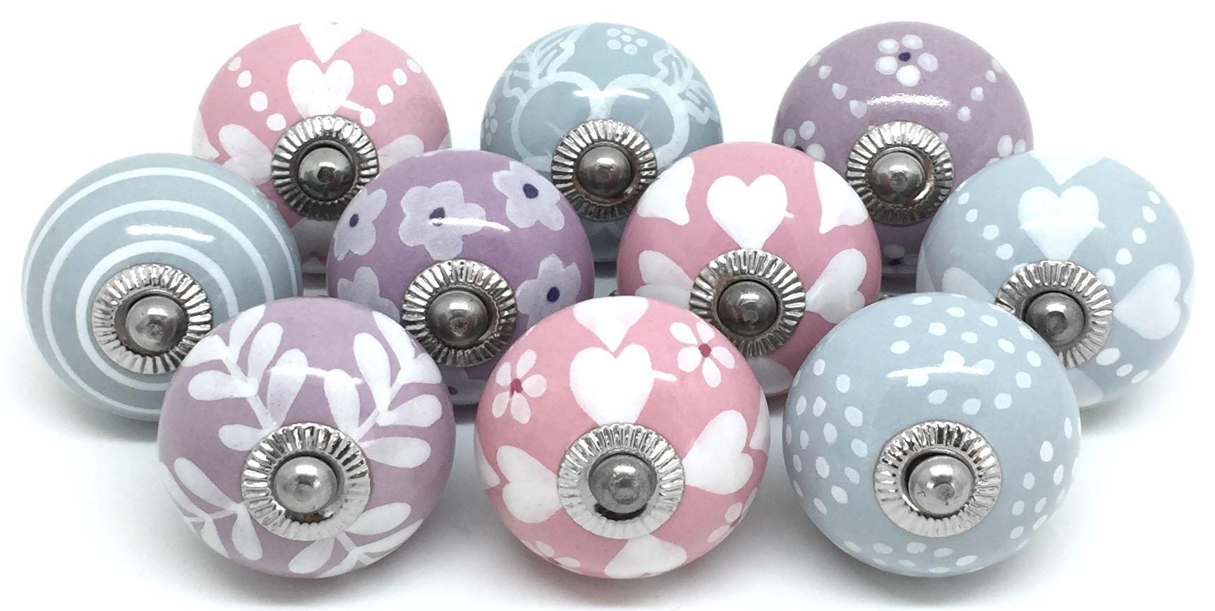 Set of 10 Mixed Lilac Pink & Grey FP81