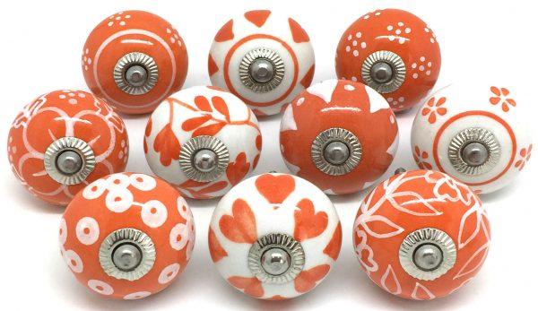 Set of 10 Orange & White Ceramic Knobs E10-20