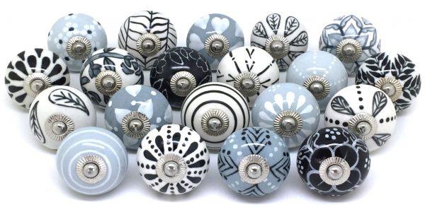 Set of 20 Grey Black & White Door Knobs Z85