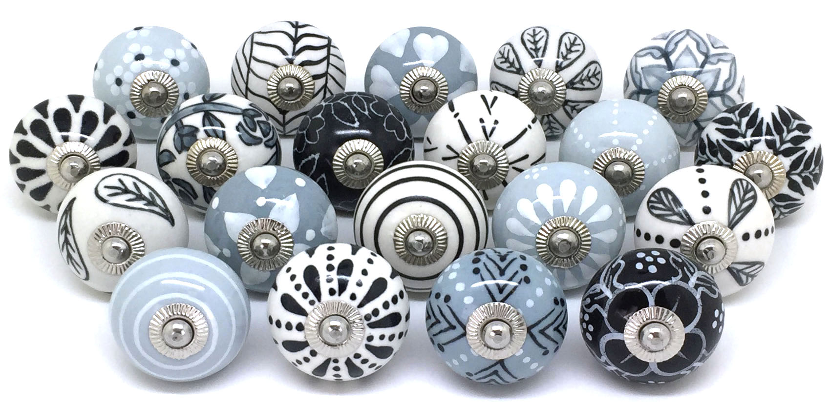 Set of 20 Grey Black & White Door Knobs Z85