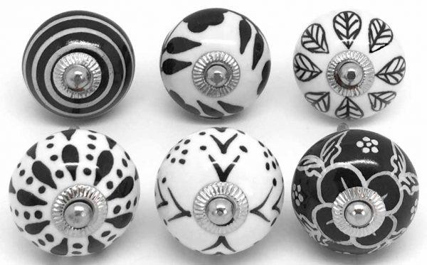 Set of 6 Black & White S6-22