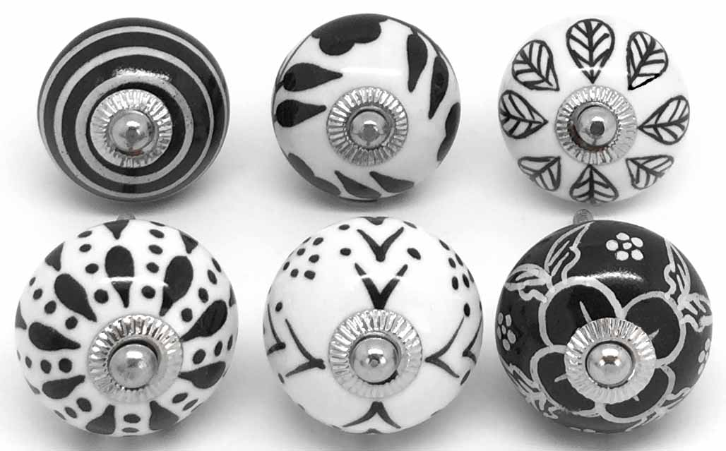 Set of 6 Black & White S6-22