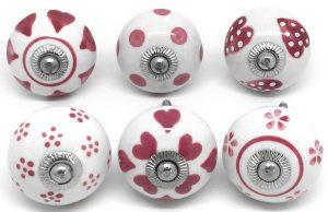 Set of 6 Cherry Pink & White S6-12