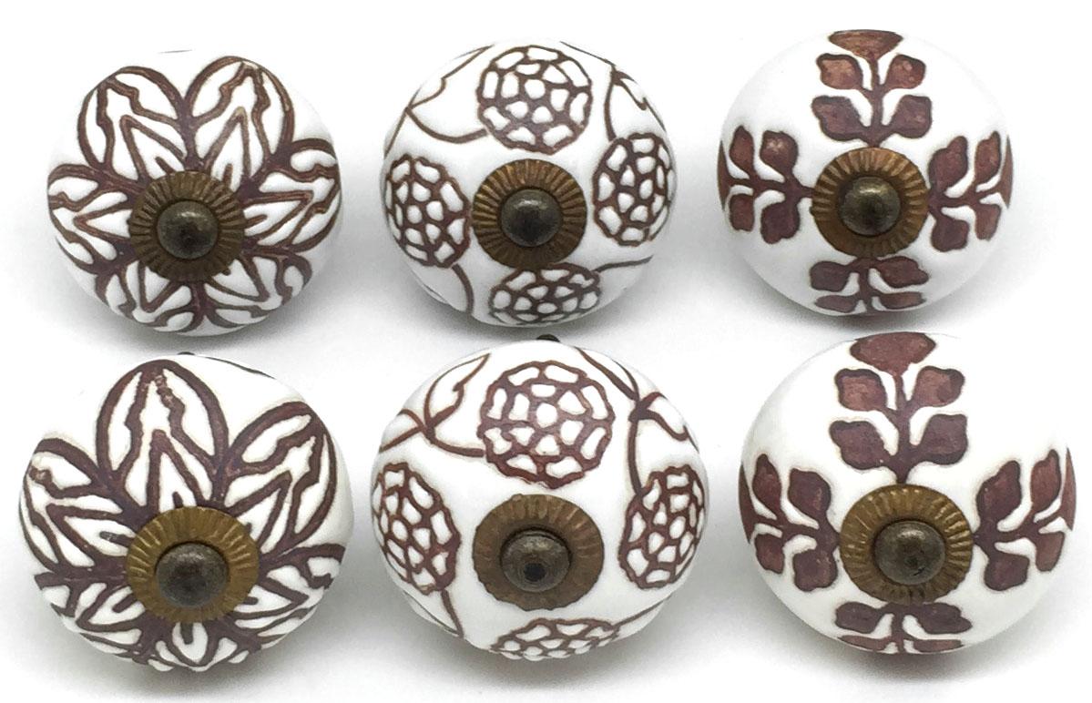 Set of 6 Cinnamon Ceramic Knobs S6-29