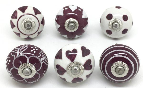 Set of 6 Cranberry & White S6-23