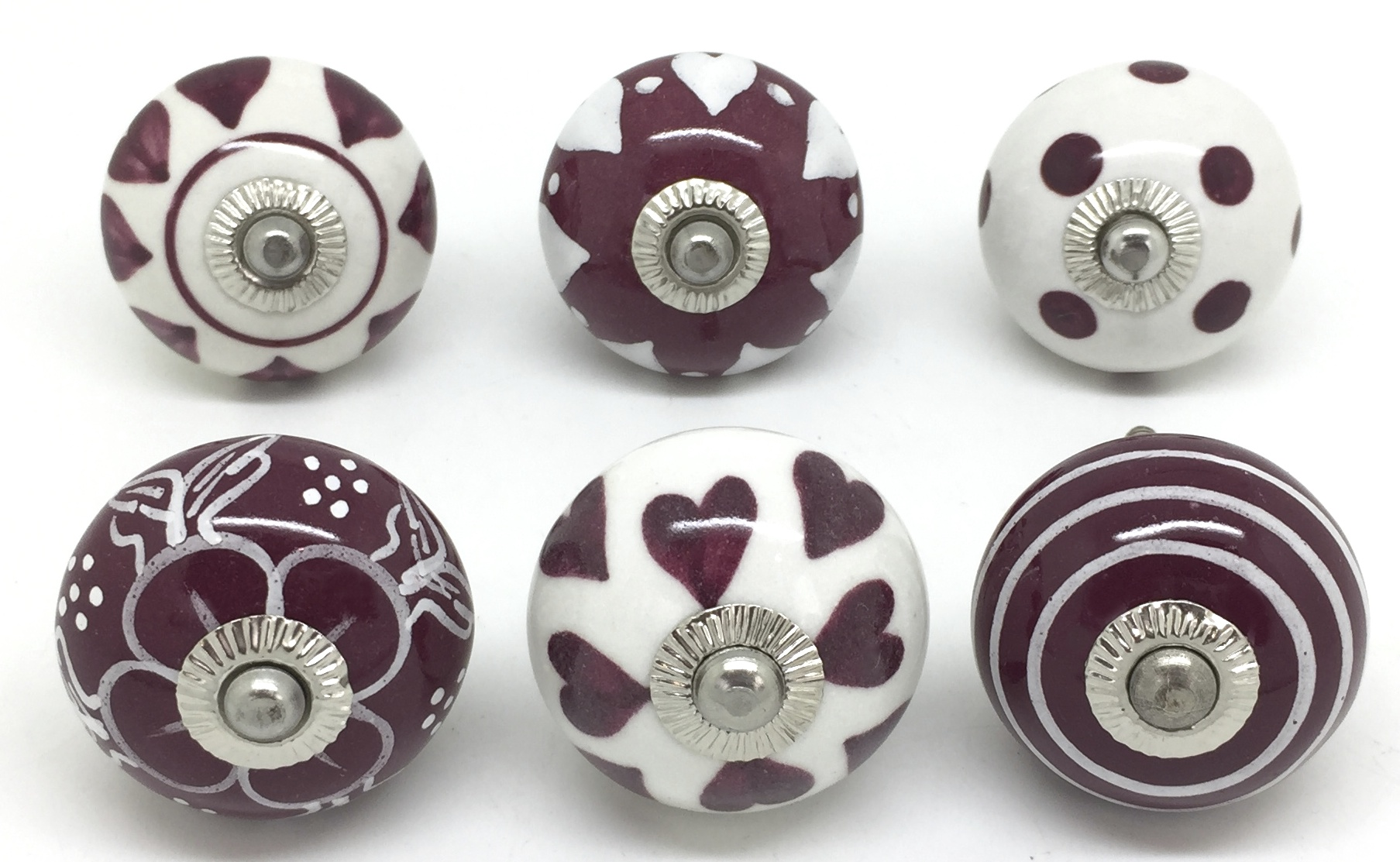 Set of 6 Cranberry & White S6-23