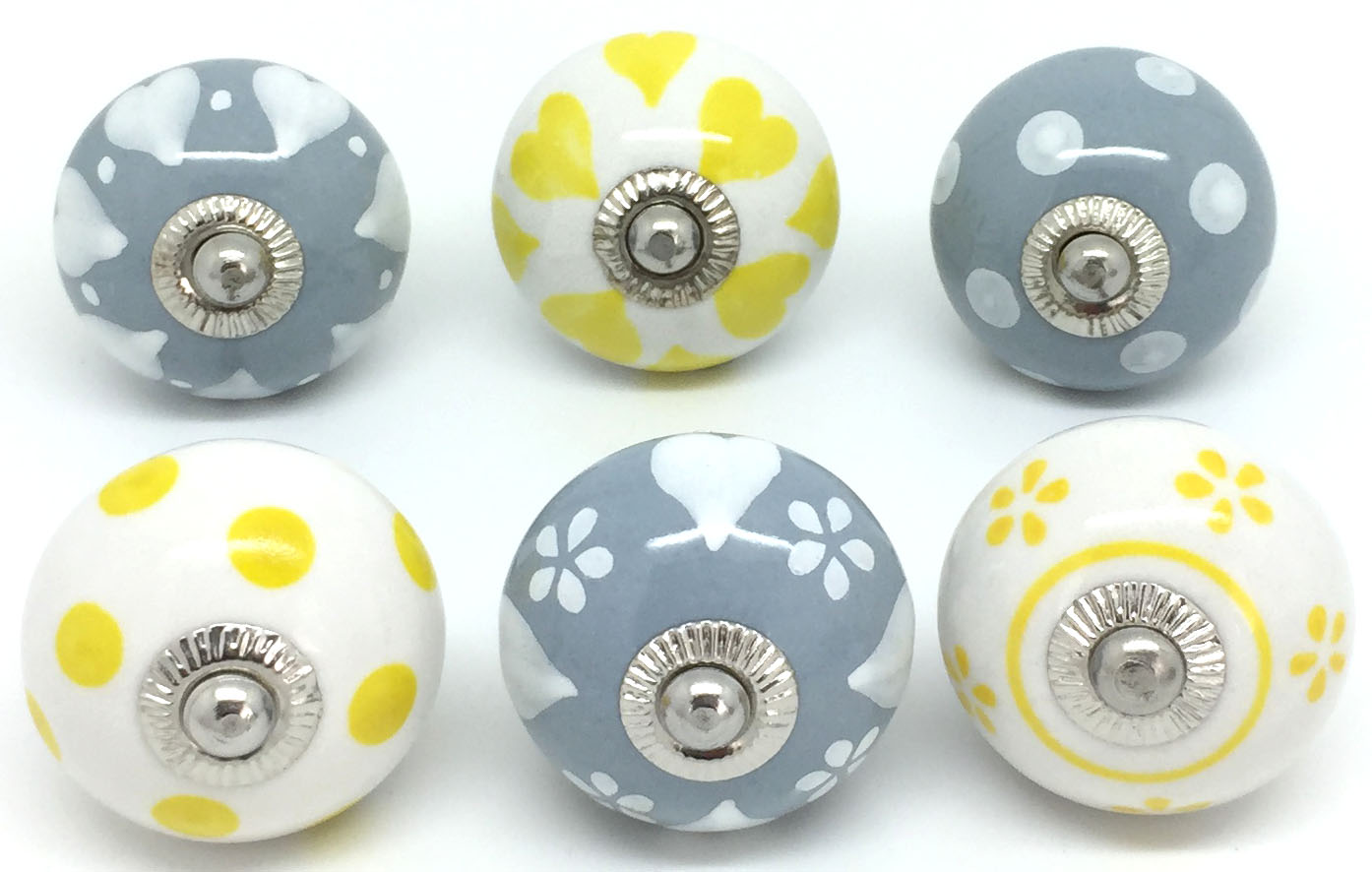 Set of 6 Grey Yellow & White E6-22