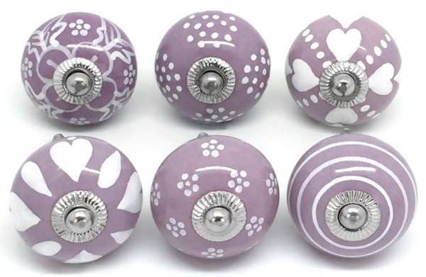 Set of 6 Lilac & White E6-27