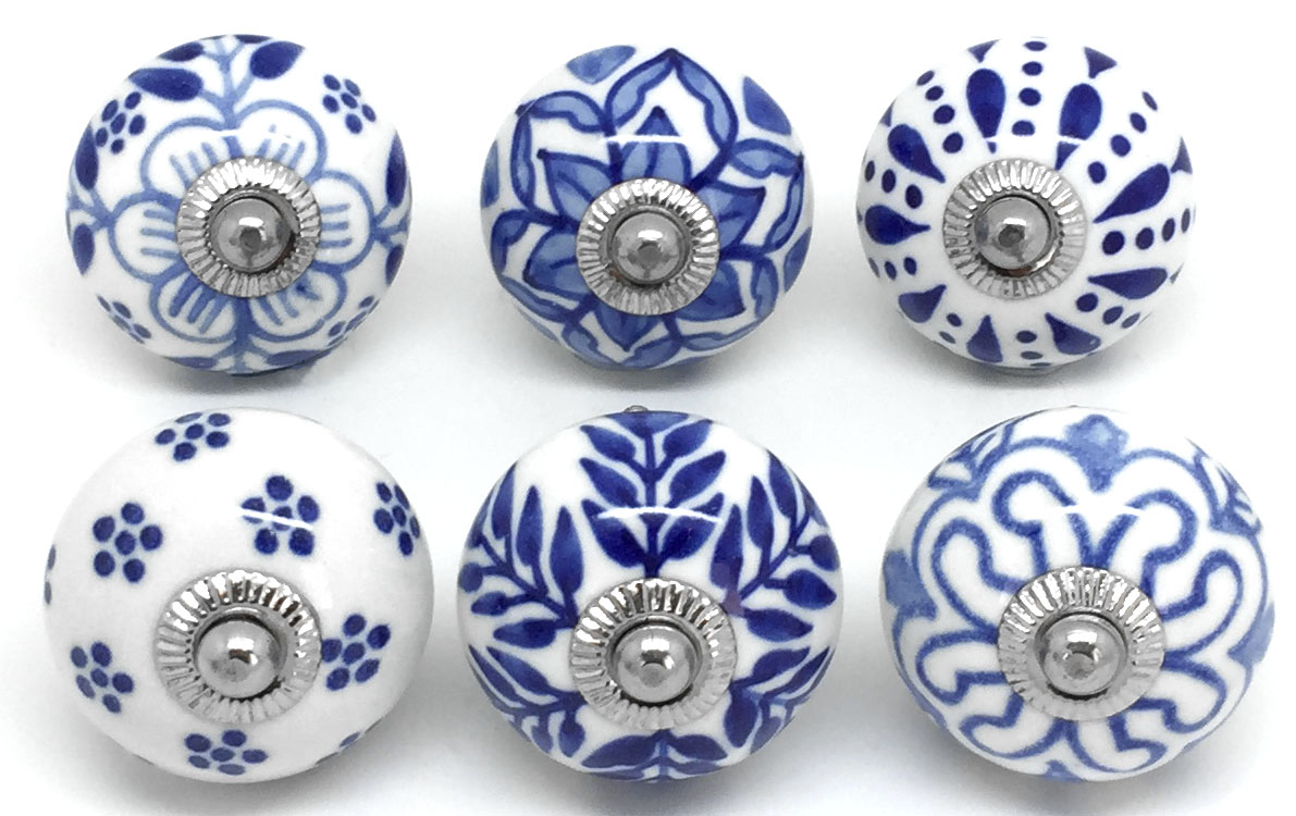 Set of 6 Navy Blue & White S6-8