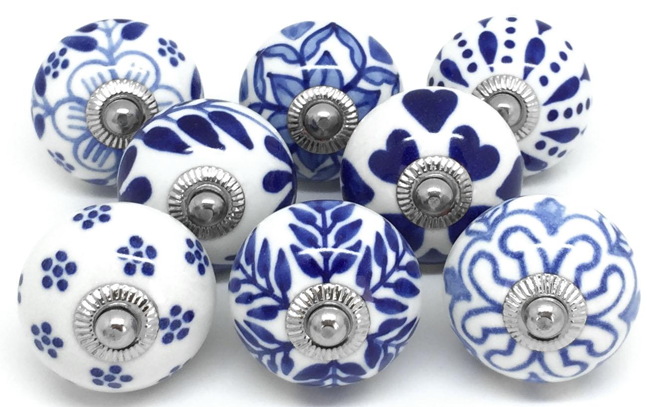 Set of 8 Navy Blue & White S8-6