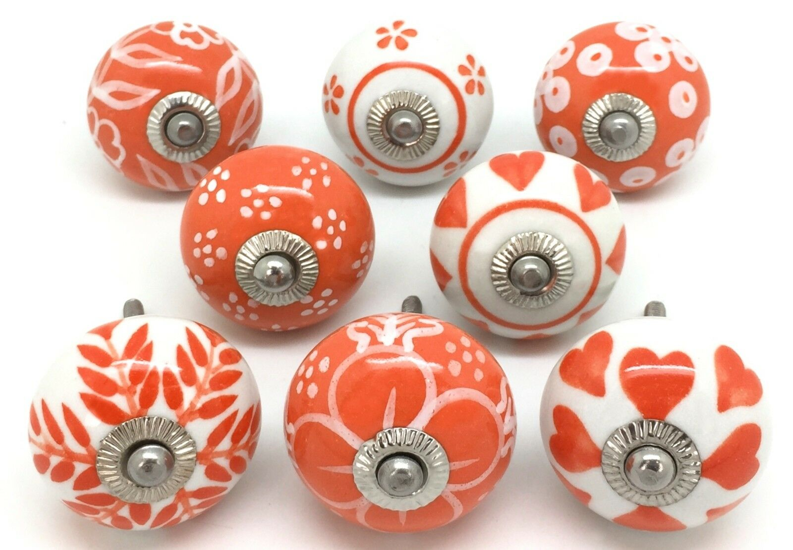 Set of 8 Orange & White E8-11
