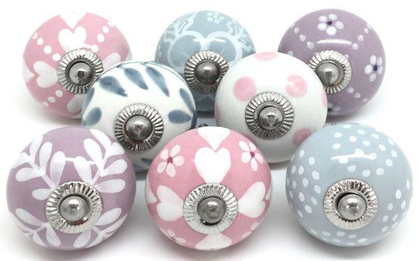 Set of 8 Pink Lilac & Grey E8-18