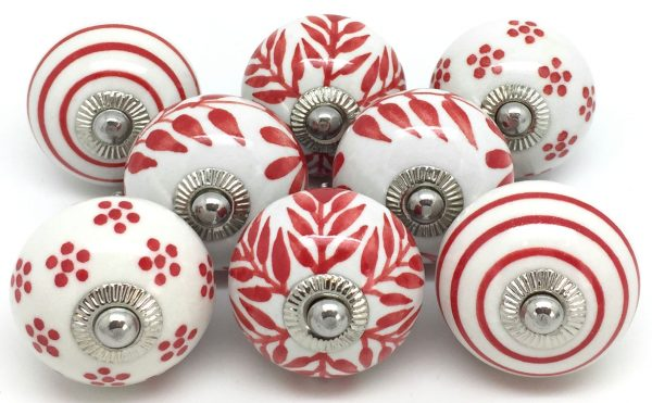 Set of 8 Red & White S8-17